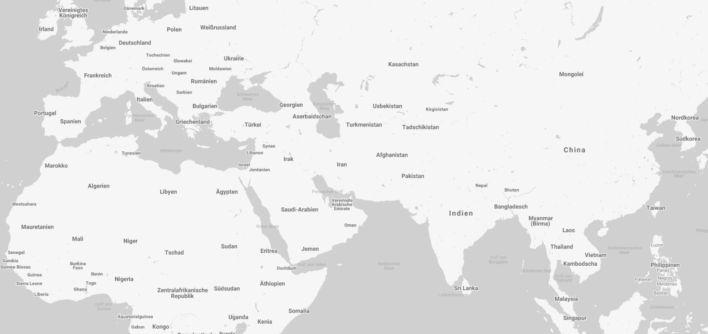 Ausschnitt einer Weltkarte die Afrika, Europa und Asien zeigt.